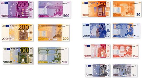 FILE -- This combinated picture shows the fronts and backs of the future Euro bills from Germany.  The Euro will become the official currency Jan. 1, 2002. (AP Photo/ECB/HO) --PICTURE HAS TO BE USED ENTIRELY WITHOUT CROPPING MANDATORY CREDIT: EUROPEAN CENTRAL BANK--